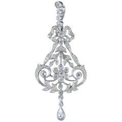 Antique Victorian Floral Paste Stone Pendant Silver, circa 1900
