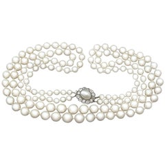 Double Strand Pearl and 0.84 Carat Diamond, 14 Karat Yellow Gold Necklace