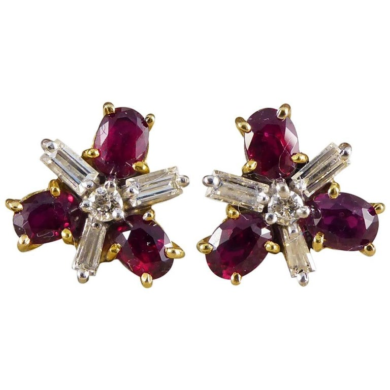 Ruby and Diamond Cluster Earrings in 18 Carat Gold