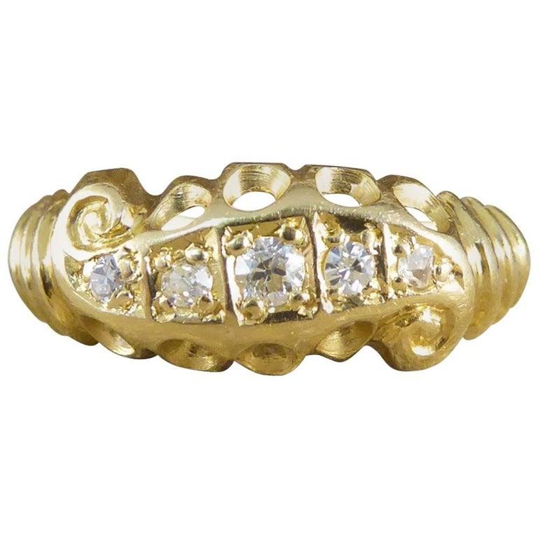 Late Victorian 18 Carat Gold Five-Stone Diamond Scroll Ring