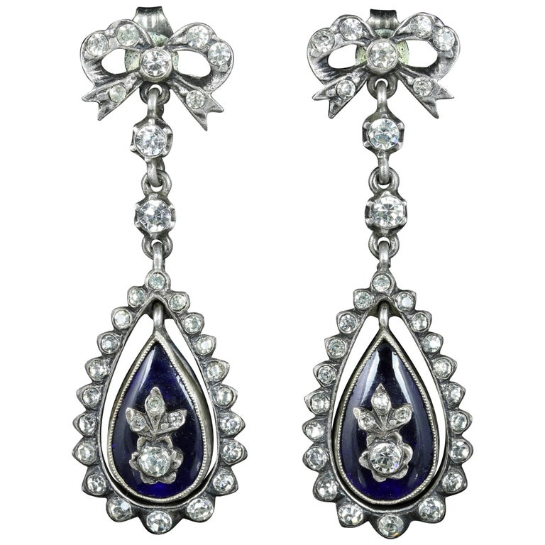 Antique Victorian Blue Enamel Paste Earrings, circa 1890