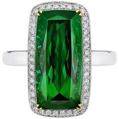 Tivon 18ct White Gold large Cushion cut Green Tourmaline & Diamond cocktail Ring