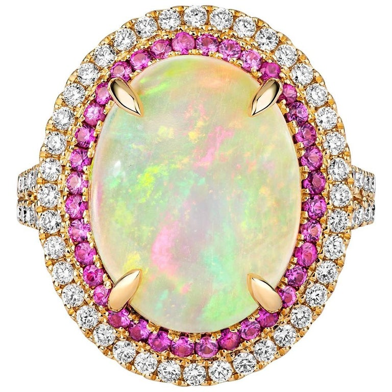 Tivon 18ct Yellow Gold pave set Opal Pink Sapphire & White Diamond Cocktail Ring