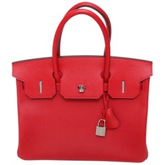 Hermes Birkin Bag Rouge Casaque Togo Palladium Hardware AC Stamp