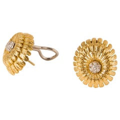 Elegant Italian Gold and Diamond Earrings