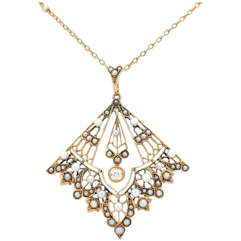 14 Karat Yellow Gold Victorian Diamond and Seed Pearl Pendant Necklace