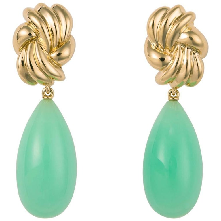 Tiffany & Co. Gold and Chrysophrase Drop Earrings