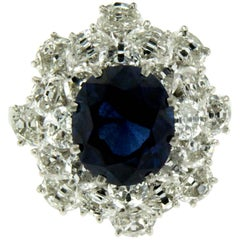 Estate 3.47 Carat Sapphire Half Moon Diamond Platinum Ring