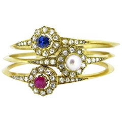 French Victorian Pearl, Sapphire, Ruby Rose Cut Diamonds Gold Bangles Bracelets