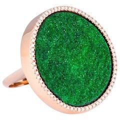 Karolin Uvarovite Mineral Pave Diamond 18 Karat Rose Gold Cocktail Ring