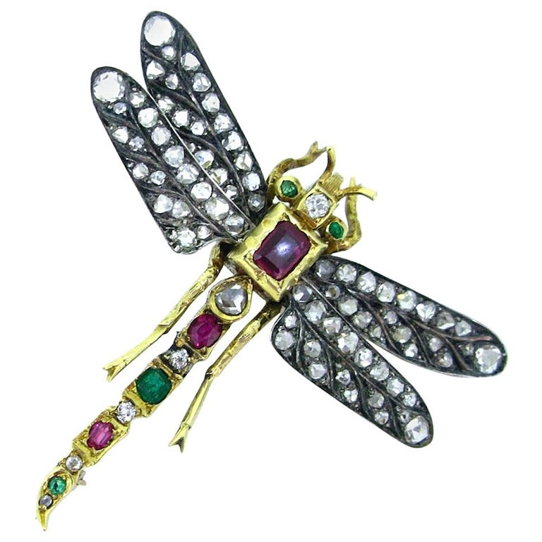 Victorian Dragonfly Diamond Ruby Emerald Brooch Gold and Silver