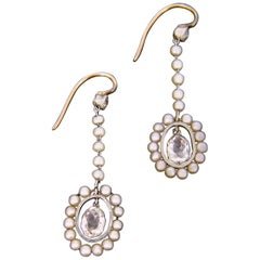 Briolette Cut Diamonds and Pearls Earrings Gold and Platinum, circa 1910