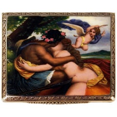 Silver 800 Erotica Cigarette Case Enamel Painting Loving Couple, circa 1890