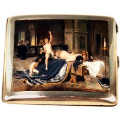 Silver 800 Erotica Cigarette Case Enamel Painting Lady Nudes in Church