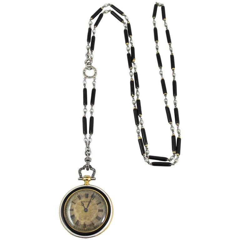 Cartier Platinum Yellow Gold Diamond Black Enamel Pendant Watch Necklace