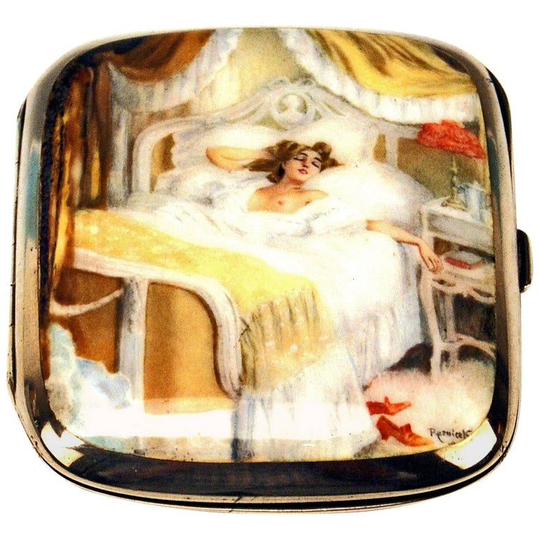 Silver 935 Erotica Cigarette Case Enamel Painting by Reznicek Lady in Bed