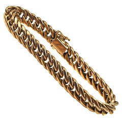 Classic 1950s French 18 Karat Gold Curb Link Chain Bracelet