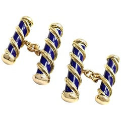 Tiffany & Co Jean Schlumberger Blue Enamel Yellow Gold Cufflinks