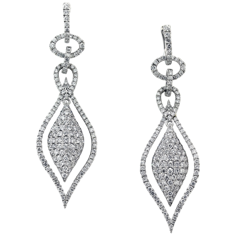 3.00 Carat Diamond White Gold Tear Drop Earrings