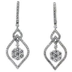 2.50 Carat Diamond Cluster White Gold Drop Earrings