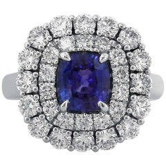 Yael Designs 2.03 carat GIA Cert Color Change Sapphire Diamond Platinum Ring