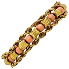 14 Karat Yellow Gold Coral Bead Bracelet