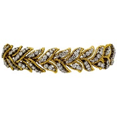 9.00 Carat Diamonds 18 Karat Yellow Gold Rope Bracelet