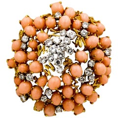 3.44 Carat Angel Skin Coral 3.48 Carat Diamonds Modern Brooch