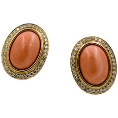 1.92 Carat Diamonds, 30.80 Carat Oval Coral 14 Karat Yellow Gold Earrings