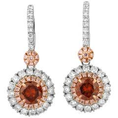 GIA Certified Orange Diamond Pink Diamond White Diamond Gold Earring