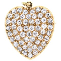Late Victorian 18k Yellow Gold Old European Cut Diamond Heart Pin Pendant