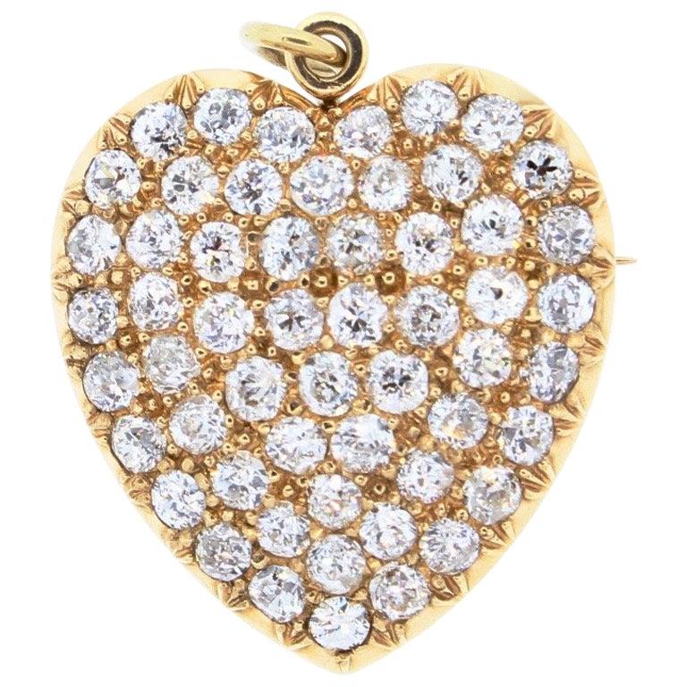 Late Victorian 18k Yellow Gold Old European Cut Diamond Heart Pin Pendant