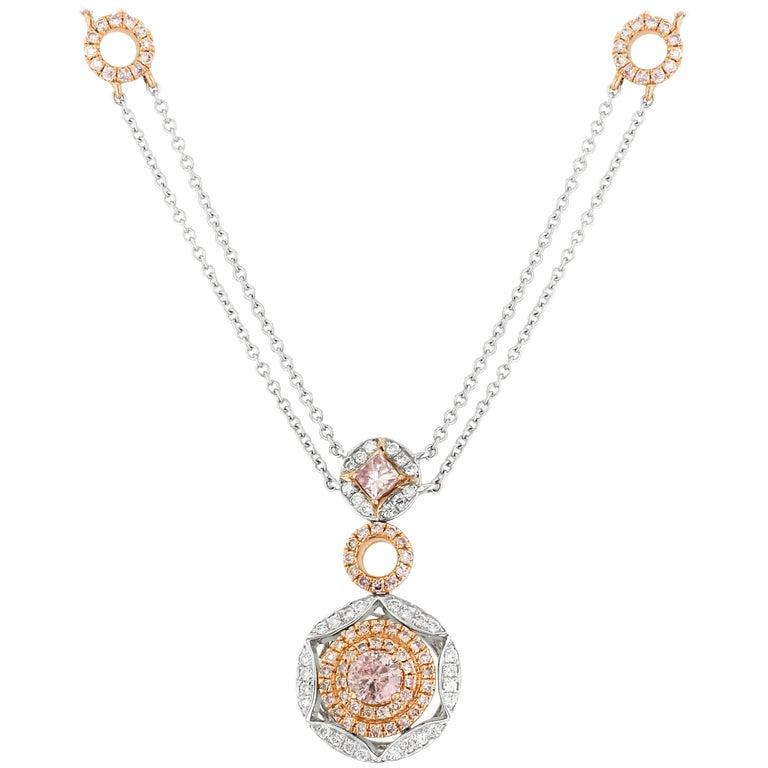 GIA Certified Pink Diamond White Diamond Gold Necklace