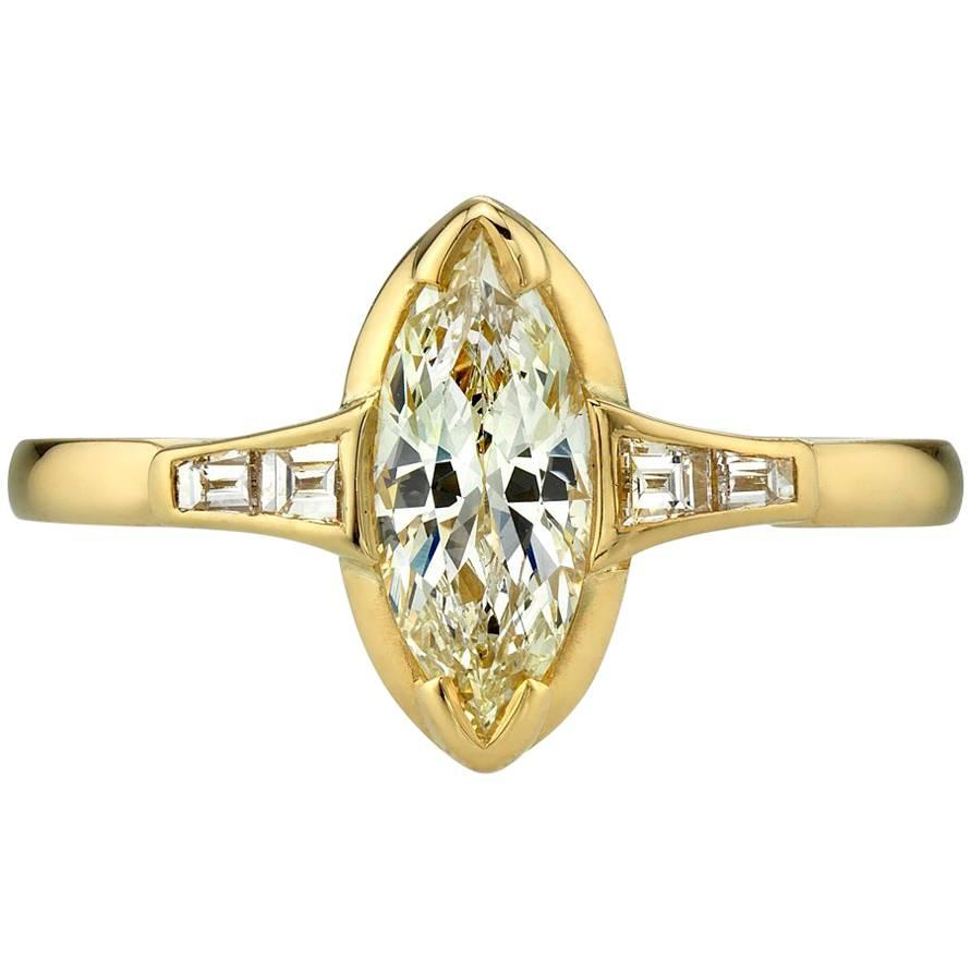 0.65 Carat Marquise Cut Diamond Set in a Handcrafted Yellow Gold Ring