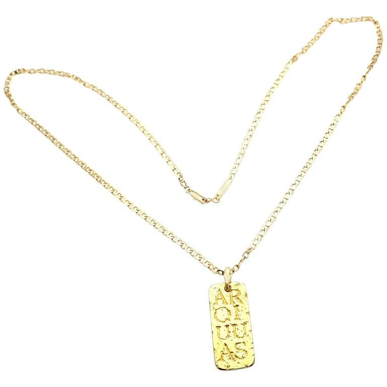 Vintage Van Cleef & Arpels Link Chain Aquarius Yellow Gold Pendant Necklace