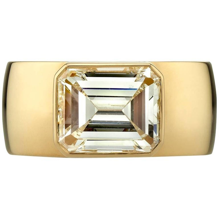 3.39ct Emerald cut diamond Band Ring