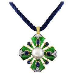 David Webb  Maltese Cross Diamond Pearl Sapphire 18K YG Enamel Pendant/Brooch