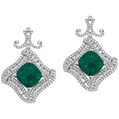 Emerald Diamond and White Gold Earrings