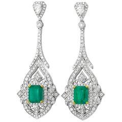 Emerald Diamond and Gold Earrings
