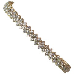 Picchiotti 18 Karat Yellow Gold Three-Row Diamond Bracelet