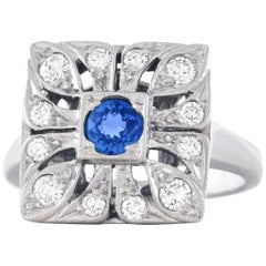 Art Deco Diamond and Sapphire Set Gold Ring