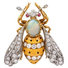 Diamond Enamel Opal Gold Platinum Brooch Pin