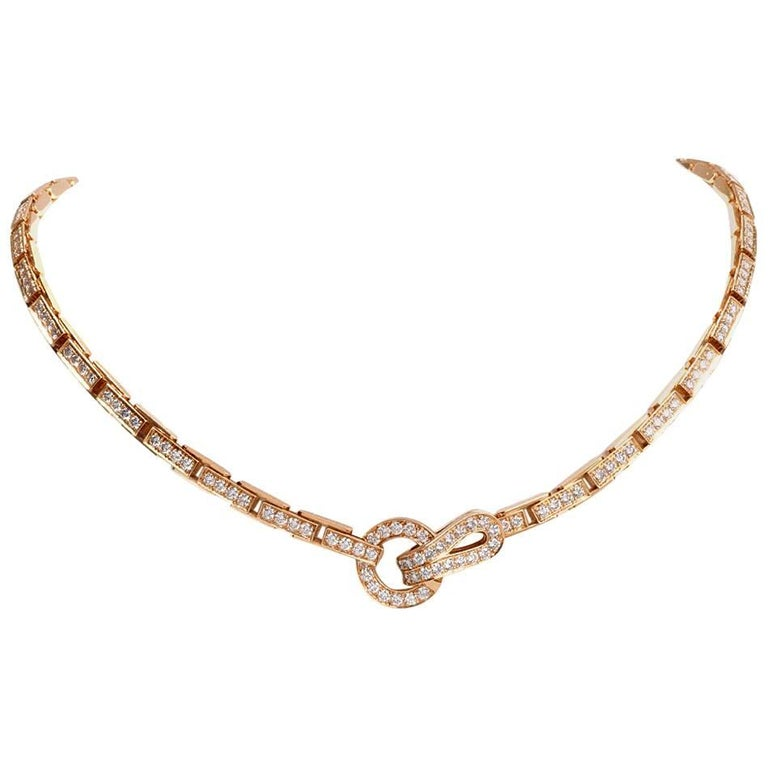 Cartier Agrafe Diamond Yellow Gold Choker Link Necklace