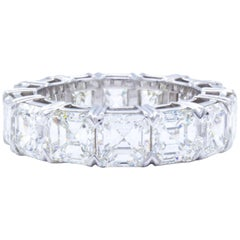 David Rosenberg 11.58 Carat Asscher Cut Platinum Diamond Eternity Wedding Band