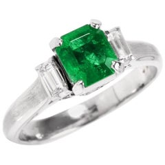 Emerald Baguette Diamond Three-Stone Engagement Ring