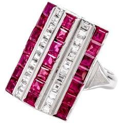 1980s Retro Design Ruby Diamond Platinum Cocktail Ring