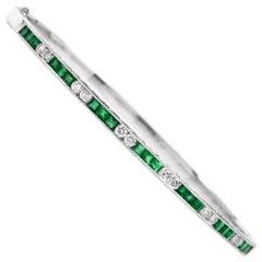 Emerald Diamond 18 Karat Gold Bangle Bracelet