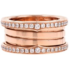 Bvlgari B.Zero1 Bulgari Ring in 18 Karat Rose Set with Pavé Diamonds