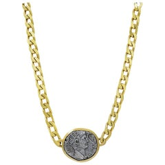 Yellow Gold Vintage Coin Link Necklace