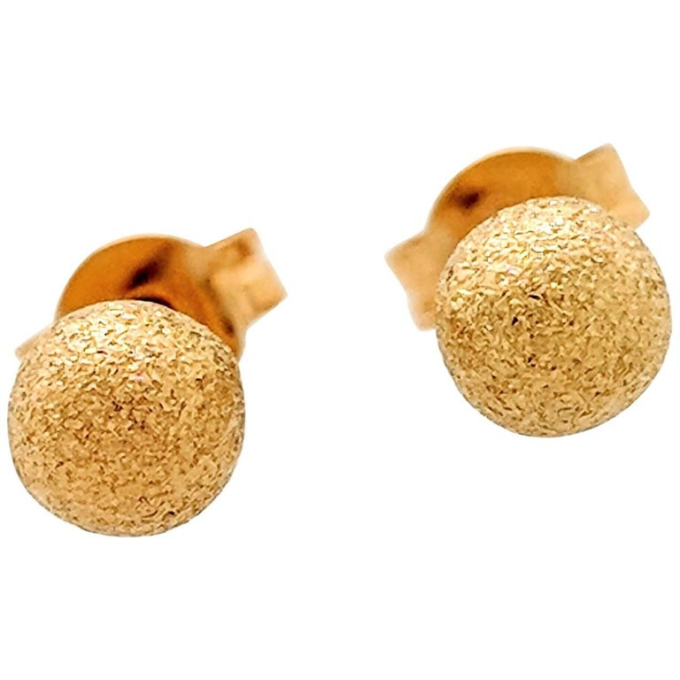 18 Karat Yellow Gold Shimmery Gold Ball Stud Earrings